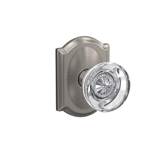 Custom Hobson Glass Knob with Camelot Trim Hall-Closet and Bed-Bath Lock - Satin Nickel