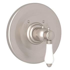Thermostatic Trim Plate without Volume Control - Satin Nickel with White Porcelain Lever Handle