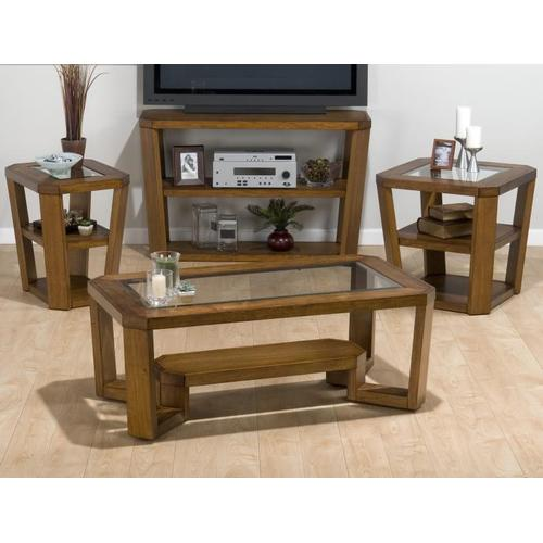 Chairside Table W/ 2 Shelves - Glass Top