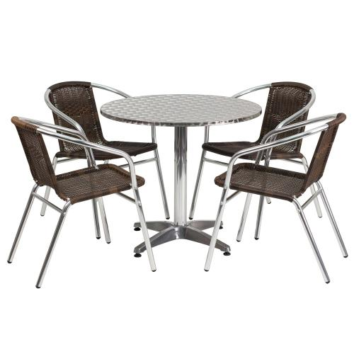 31.5'' Round Aluminum Indoor-Outdoor Table Set with 4 Dark Brown Rattan Chairs