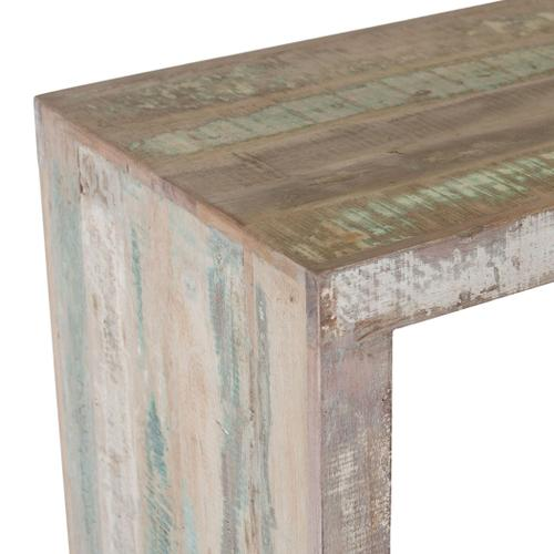 """Ibiza 66"""" Reclaimed Wood Sofa Back Console Table with 3 Counter Stools"""