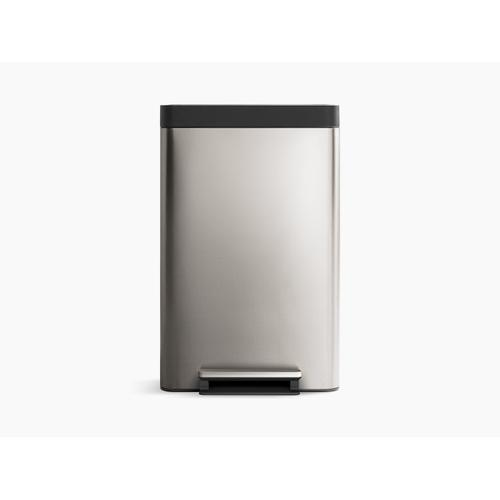 Stainless and White 13-gallon Stainless Steel Step Can