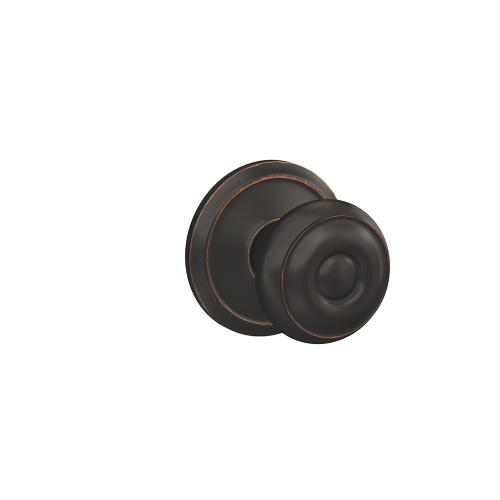 Custom Georgian Knob with Alden Trim Hall-Closet and Bed-Bath Lock - Aged Bronze