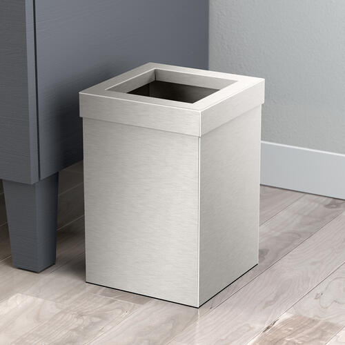 Square Modern Waste Basket in Satin Nickel
