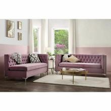 ACME Rhett Sectional Sofa - 55500 - Transitional - Velvet, Frame: Wood ( ), Foam (D), Metal Leg - Purple Velvet