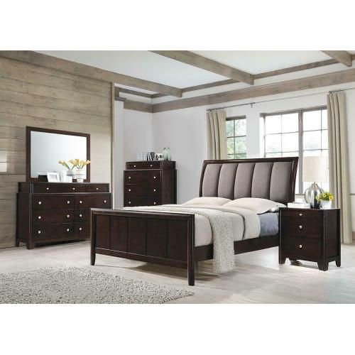Madison Transitional Dark Merlot and Taupe Grey Queen Bed