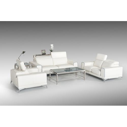 VIG Furniture - Estro Salotti Bolton Italian Modern White & Blue Leather Sofa Set
