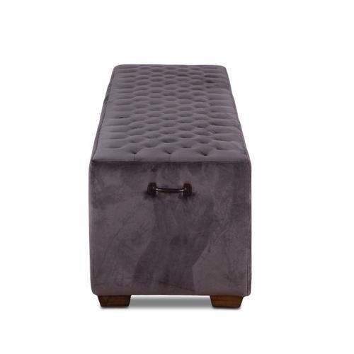 """D'Orsay 78"""" Upholstered Asphalt Velvet Bench"""