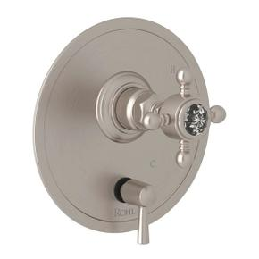 Pressure Balance Trim with Diverter - Satin Nickel with Crystal Cross Handle