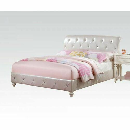 ACME Dorothy Full Bed (Padded) - 30335F - Pearl White PU & Ivory