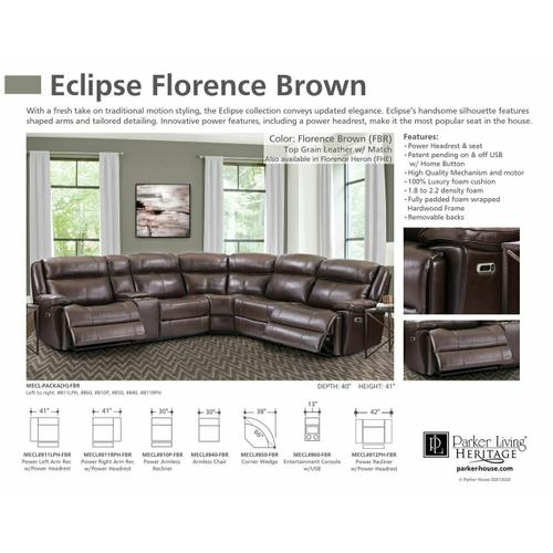Parker House - ECLIPSE - FLORENCE BROWN Power Armless Recliner