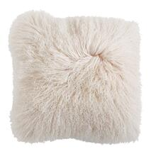 "See Details - 20"" Square Mongolian Lamb Fur Pillow, Cream"