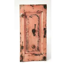Hang coats and hats on this traditional rustic wall rack. Features iron and ceramic hardware against a solid mango wood wall mountable back panel in a heavily distressed pink finish. Use in multiples to maximize storage and to heighten the design aestheti