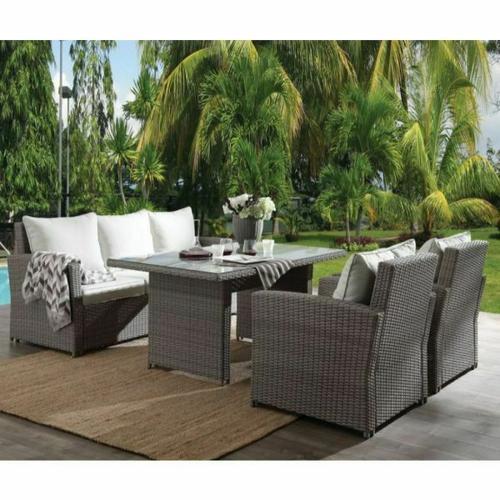 ACME Tahan 4Pc Patio Set - 45070 - Fabric & 2-Tone Gray Wicker