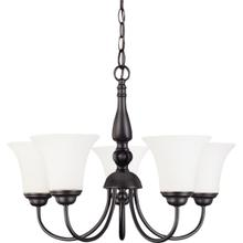 Dupont - 5 Light Chandelier with Satin White Glass - Dark Chocolate Bronze Finish