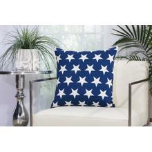 "Outdoor Pillows As215 Navy/white 20"" X 20"" Throw Pillow"