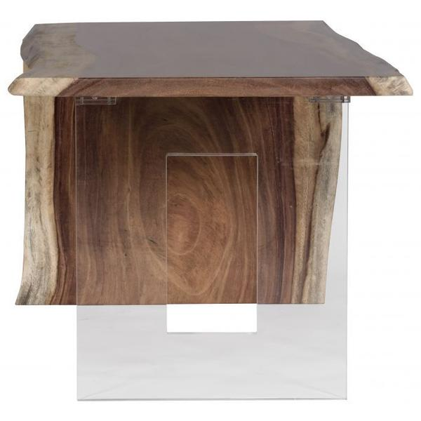 See Details - Natural Guanacaste Waterfall Desk with Acyrlic Square Base