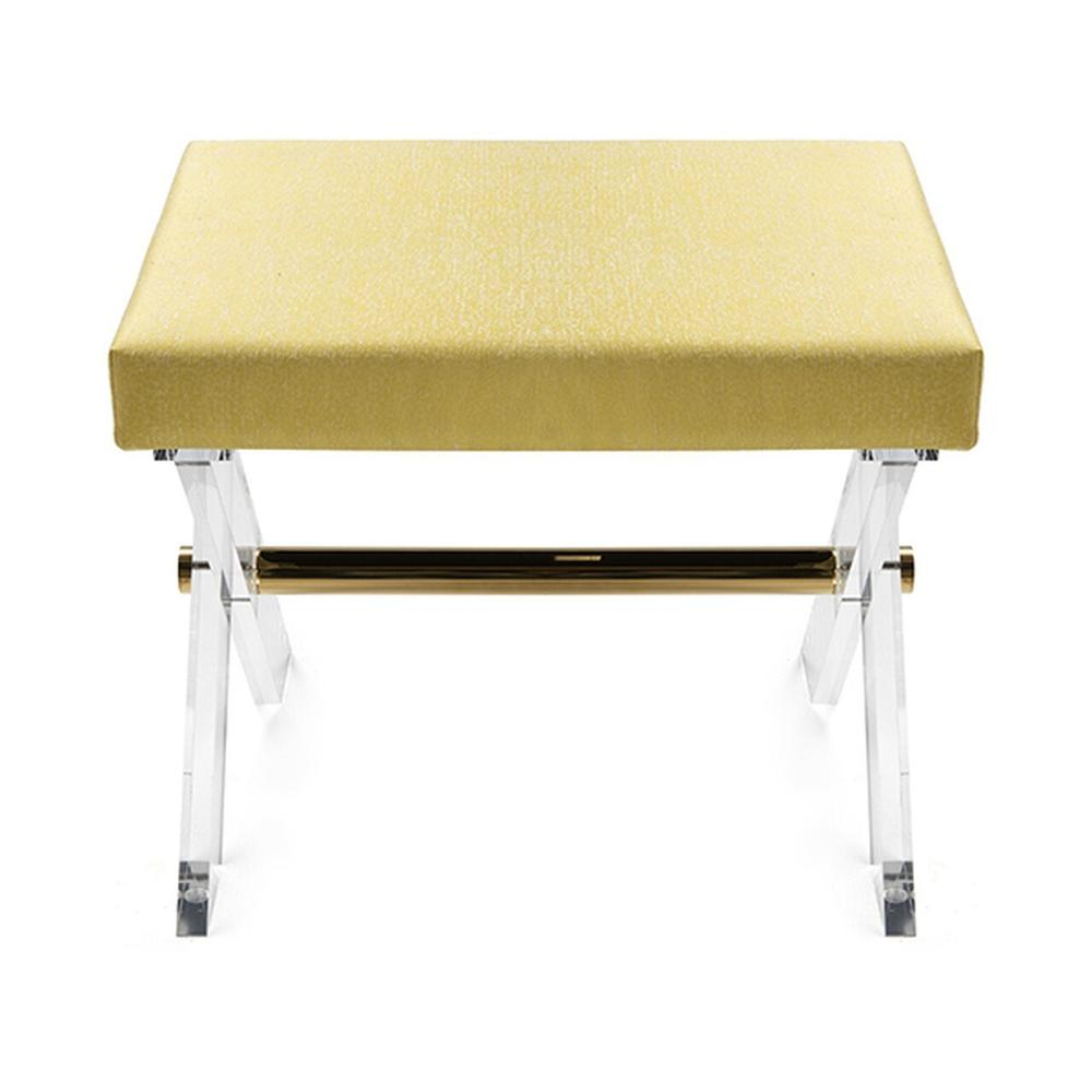 Lucite X Base Stool With Brass Stretcher & P07/citron Upholstered Cushion