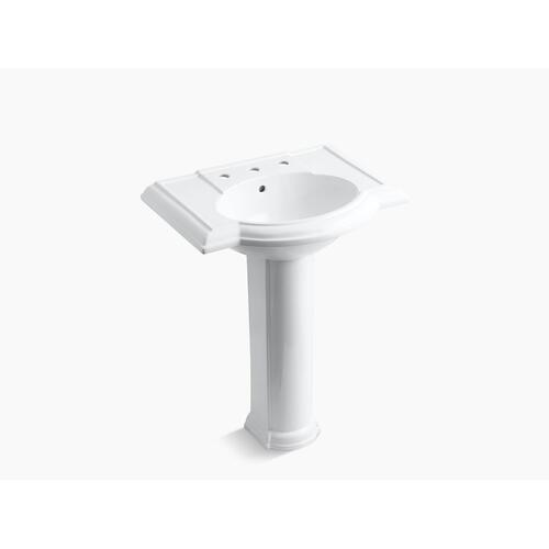 "Almond 27"" Pedestal Bathroom Sink With 8"" Widespread Faucet Holes"