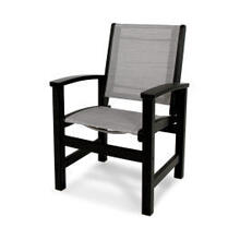 View Product - Coastal Dining Chair in Black / Metallic Sling