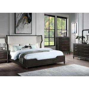 ACME Lorenzo Eastern King Bed - 28087EK - Transitional - Fabric, Wood (Poplar+Pine+Rbw), Wood Veneer (Cherry), Ply, PB - Beige Fabric and Espresso