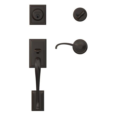 Custom Addison Single Cylinder Handleset and Interior Whitney Lever with Alden Trim - Matte Black