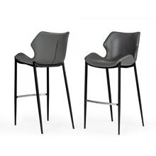 Modrest Ithaca - Industrial Grey Eco-Leather Bar Stool (Set of 2)