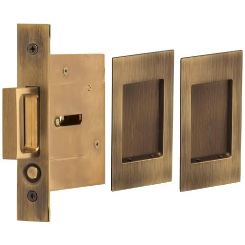 Passage Pocket Door Lock with Modern Rectangular Trim featuring Mortise Edge Pull in (US5 Antique Brass, Lacquered)