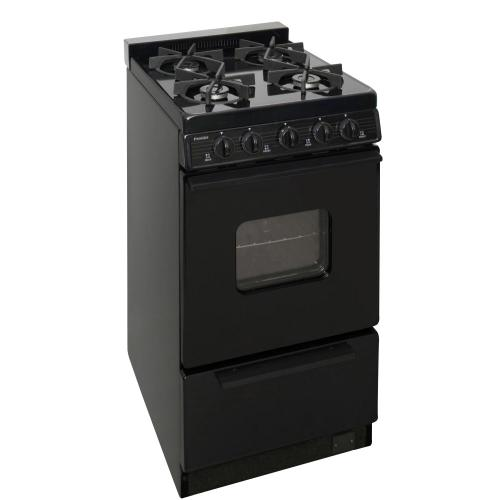 Premier - 20 in. Freestanding Battery-Generated Spark Ignition Gas Range in Black