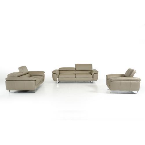 VIG Furniture - David Ferrari Highline Italian Modern Grey Leather Sofa Set