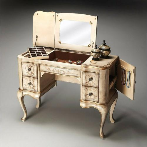 Butler Specialty Company - Hand painted finish on selected hardwoods and wood products. Decorative hand painted finish. Side doors open for jewelry storage. Top sides open to reveal felt lined sections. Top center with mirror opens to reveal felt lined compartment. Four felt lined drawers with antique brass finished hardware.