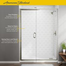 See Details - Semi-Frameless Swing Shower Door and Panel - 56-60 Inch  American Standard - Brushed Nickel