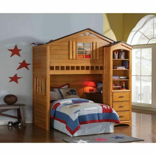 ACME Tree House Loft Bed - 10160 - Rustic Oak