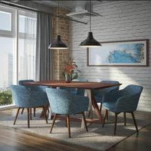 See Details - Drake/Minto 7pc Dining Set, Walnut/Blue