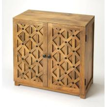 "This handsome console cabinet is a versatile accent in nearly any space "" in the den as TV/media stand, in the kitchen for recipe books and extra dishes, or in the living room/entryway for displaying family photos. Crafted from mango wood solids and wood products in a natural finish, it boasts a diamond design pattern on the door fronts giving its casual styling a more modern aesthetic. With black iron hardware, it opens to reveal a spacious storage area with one fixed shelf inside."