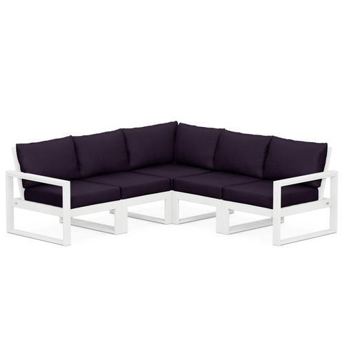 Polywood Furnishings - EDGE 5-Piece Modular Deep Seating Set in White / Navy Linen