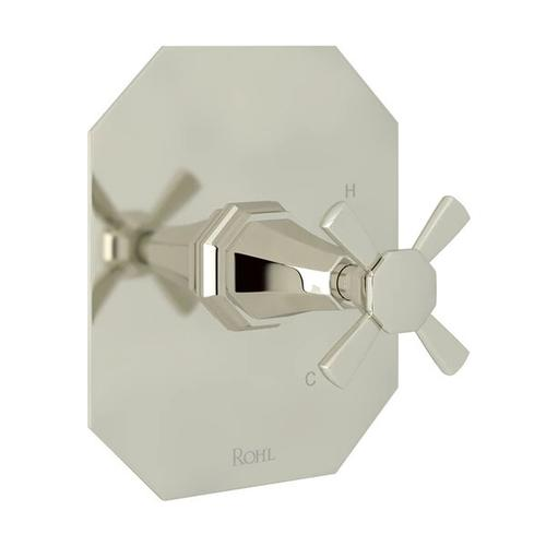 Deco Pressure Balance Trim without Diverter - Polished Nickel with Cross Handle