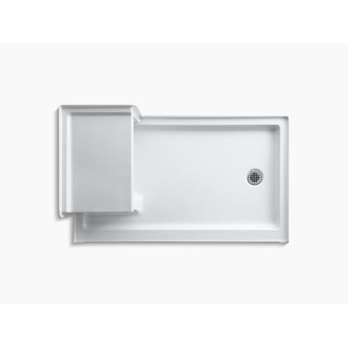 """Ice Grey 60"""" X 36"""" Single Threshold Right-hand Drain Shower Base With Integral Left-hand Seat"""