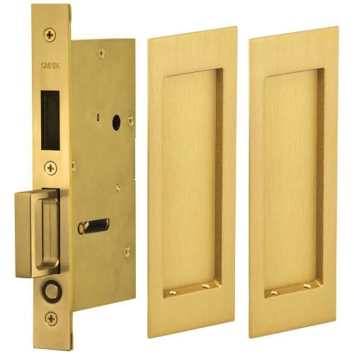 Pair Dummy Pocket Door Lock with Modern Rectangular Trim featuring Mortise Edge Pull in (US4 Satin Brass, Lacquered)