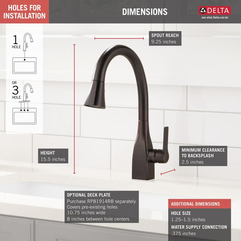 Delta Faucet Company 9183rbdst Studio41 Venetian Bronze Single Handle Pull Down Kitchen Faucet With Shieldspray Technology