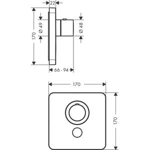 Brushed Nickel Thermostat HighFlow for concealed installation softcube for 1 function and additional outlet