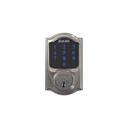 Schlage Connect Smart Deadbolt with alarm with Camelot trim, Z-wave enabled paired with Accent Lever with Camelot trim - Satin Nickel