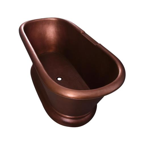 """Reedley 61"""" Copper Double Roll Top Tub - Tap Deck - No Drillings"""