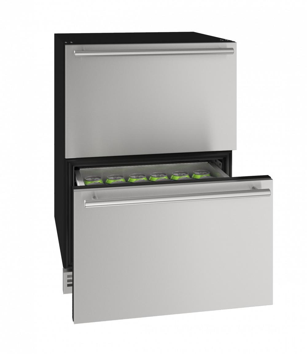 """U-LineHdr124 24"""" Refrigerator Drawers With Stainless Solid Finish (115v/60 Hz Volts /60 Hz Hz)"""