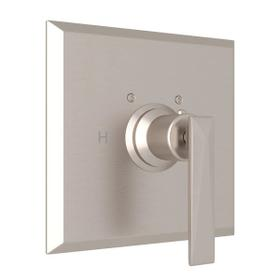 Vincent Thermostatic Trim Plate without Volume Control - Satin Nickel with Metal Lever Handle