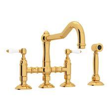 See Details - Acqui Deck Mount Column Spout 3 Leg Bridge Kitchen Faucet with Sidespray - Italian Brass with White Porcelain Lever Handle