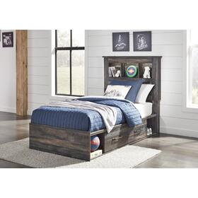 Drystan Twin Bookcase Bed With 4 Storage Drawers