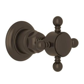 Trim for Volume Control and 4-Port Dedicated Diverter - Tuscan Brass with Cross Handle