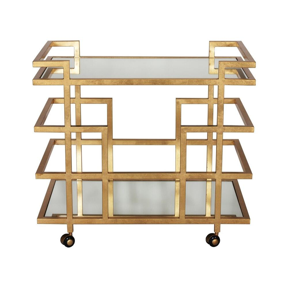 Simple Yet Sophisticated, Our Ireland Bar Cart Makes Entertaining A Breeze. Complete With Two Mirrored Shelves and A Classic Geometric Base Hand-finished In Gold Leaf - Ready and Waiting for Your Next Soirée. Hooded Casters Add Welcome PORTABILITY.