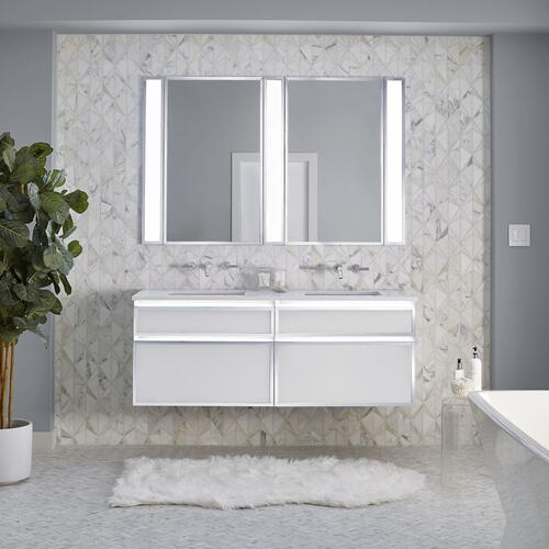 "Profiles 30-1/8"" X 7-1/2"" X 21-3/4"" Modular Vanity In Beach With Matte Gold Finish, False Front Drawer and Selectable Night Light In 2700k/4000k Temperature (warm/cool Light); Vanity Top and Side Kits Not Included"